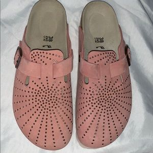EUC Birkenstock Boston Rivets Rose 38 7 N worn 1X